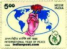 HAND HOLDING FLOWER WORLD MAP 1202 Indian Post
